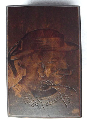 French Breton wood box Picture of man on lid Vintage Quimper art c 1930s