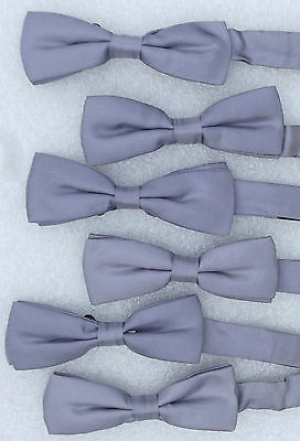 Job lot of 6 silver silk bow ties Theatre costume Dance chorus line Fancy Dress