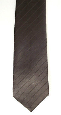 Mens striped tie Woven brown diagonal stripe