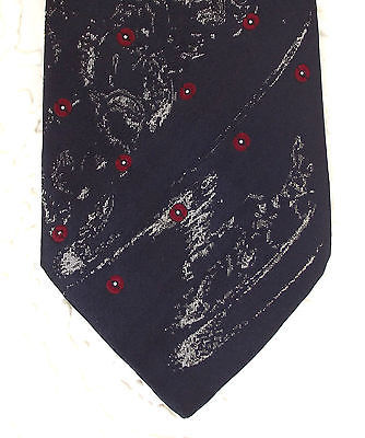 Navy polka dot tie Vintage 1970s Louis Philippe Couture for Men Red spots