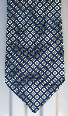 Patterned tie with green squares on navy blue C&A