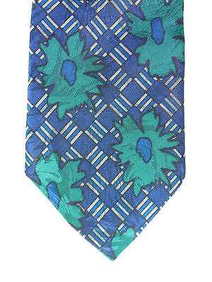 Roberto floral tie Blue check Green flowers Polyester Vintage 1980s