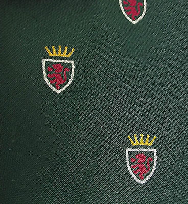 Tootal tie Heraldic lion Green cotton Unused vintage 1950s IMPERFECT