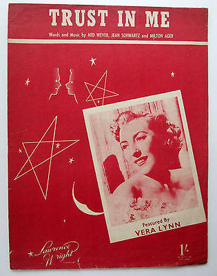 Vera Lynn song Old sheet music Trust in Me 1930s by Wever Schwartz & Ager