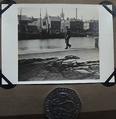 Vintage photograph French port 1920s harbour policeman gendarme fishing nets
