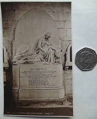 Vintage postcard Percy Bysshe Shelley monument Christchurch Priory Dorset WEEKES