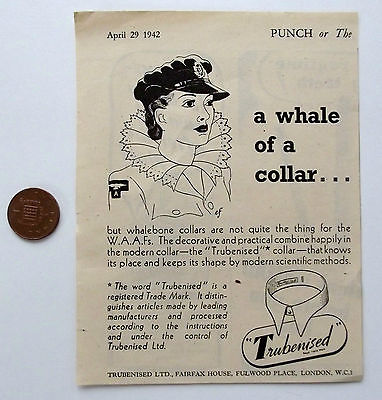 Wartime Punch advertisement WAAF Trubenised collars Womens air force uniform WW2
